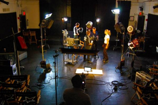 Live streaming of a professional film crew making a movie on set