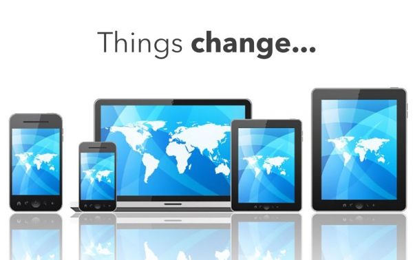 """Tablet, laptop and smartphone with the quote """"things change."""""""